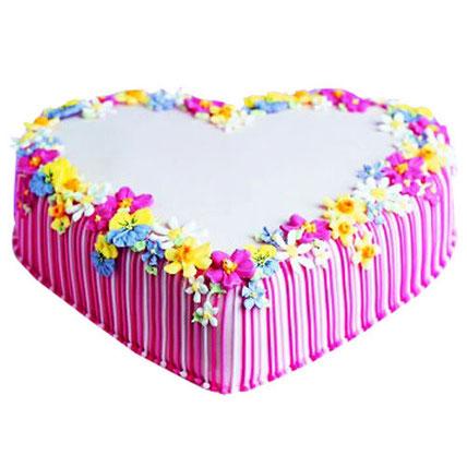 Pretty Heart Cake 4kg Eggless