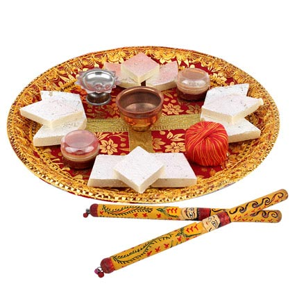Puja Thali and Dandiya