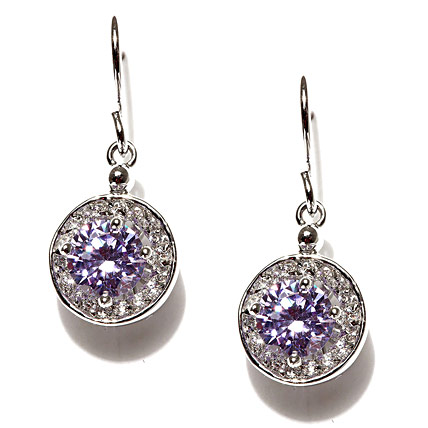 Purple and Silver Plated Swarovski Crystal Earrings