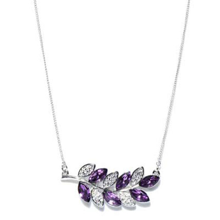 Purple and Silver Toned Olive Charm Necklace
