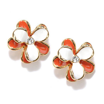 Red and White Flower Stud Earrings