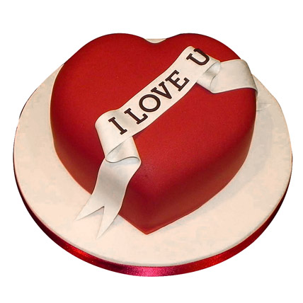 Red Heart Love You Cake 2kg Eggless