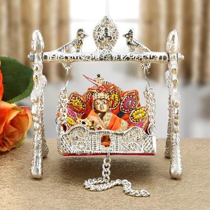 Silver Palki With Bal Krishna