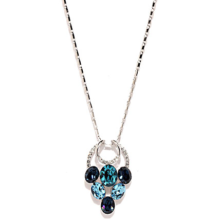 Silver Toned and Blue Crystal Pendant with Chain