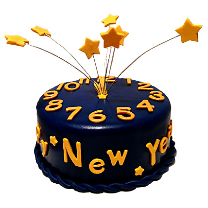 Starry New Year Cake 3kg Eggless