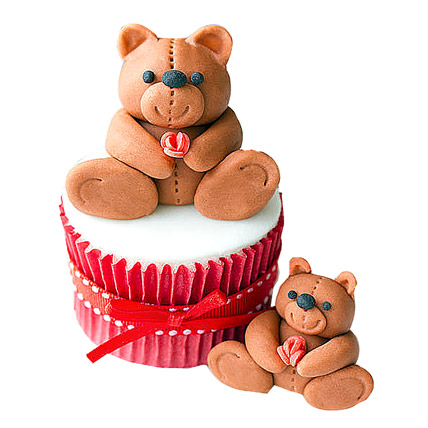 Teddy Love Cupcakes 24 Eggless