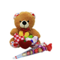 Teddy with hearts and Chocolates