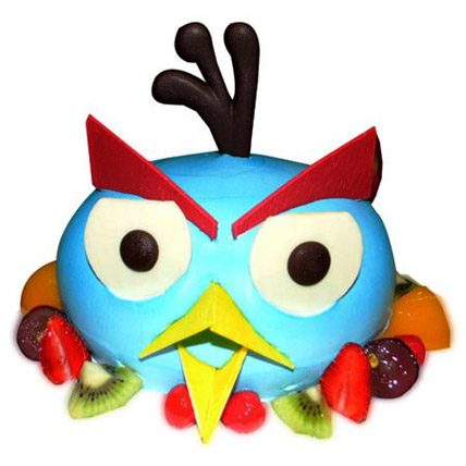 The Blue Angry Bird Cake Half kg Eggless