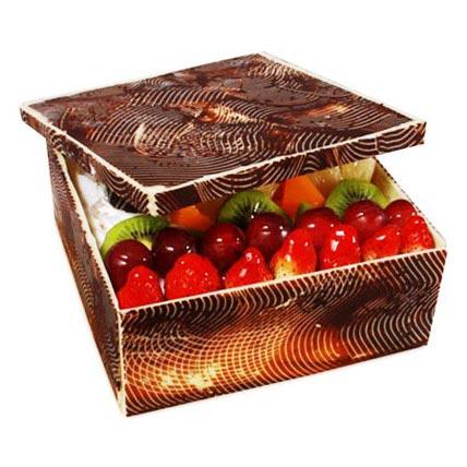 The Exotic Fruits Box Shape Cake 1kg Eggless