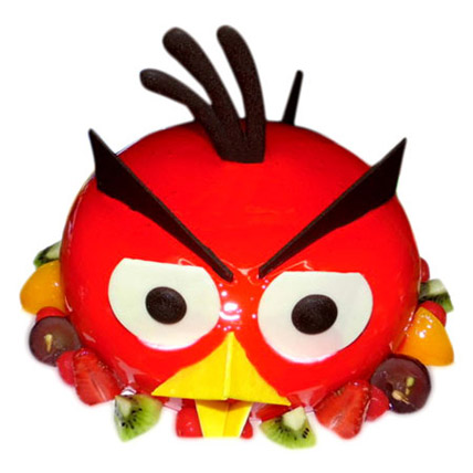The Red Angry Bird Cake Half kg Eggless