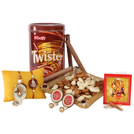 Twister And Dry Fruits Rakhi Treat