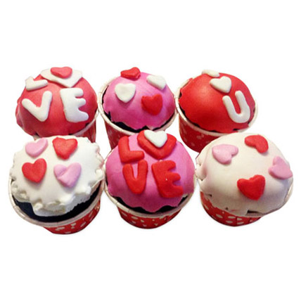 Valentine Special Cupcakes 6 Eggless