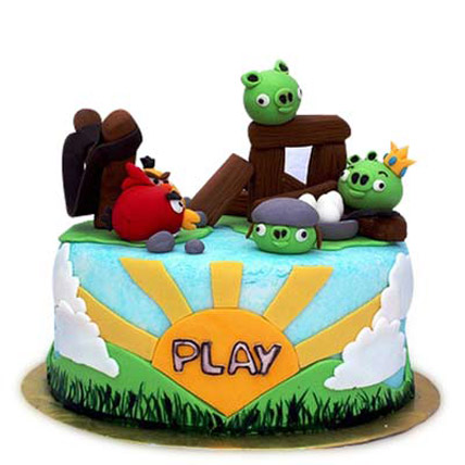 Vibrant Angry Play Cake 3kg Eggless