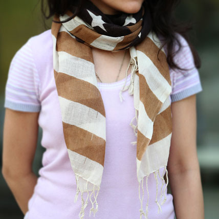 White Stripes and Stars Scarf