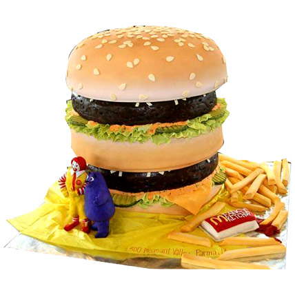 Yummy Burger Cake 4kg Eggless