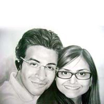 A2 Size Couple Pencil Portrait: Birthday Personalised Photo Frames