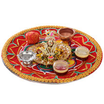 Bal Krishna With Puja Thali: Send Pooja Thali to Hyderabad
