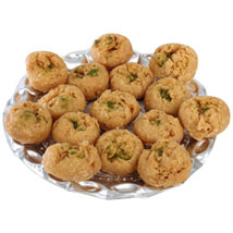 Balushahi In Silver Tray: Send Sweets for Anniversary
