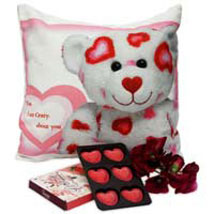 Cute Teddy Cushion: Send Artificial Flowers to Bengaluru
