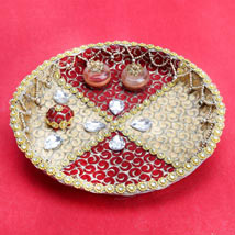 Gold and Red Purity: Karwa Chauth Pooja Thali Chennai