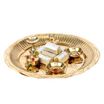 Golden Puja Thali: Send Bahidooj Pooja Thali to Hyderabad
