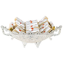 Kaju Rolls In Silver Bowl: Send Sweets to Patna
