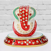 Marble Ganesha On A Chowki:  Gifts for Parents