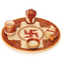 Marble Puja Thali: Send Home Decor for Diwali