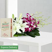 Orchids Rakhi Surprise: Send Rakhi with Flowers