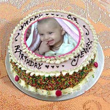 Photo Cake Vanilla Sponge:  Send Birthday Cakes to Indore
