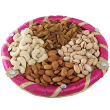 Pink Dry Fruits Round Tray: Dry Fruits Gift Packs