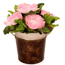 Pink Roses In A Metal Basket: Artificial Flowers for House Warming