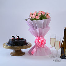 Pink Roses with Cake: Flowers & Cakes for Mothers Day