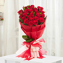 Romantic - Bunch of 20 Red roses in paper packing.