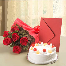 Roses N Cake Hamper: Valentines Day Send Flowers & Cards