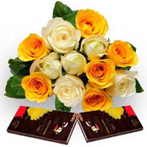 Roses with Dark Chocolate: Send Flowers & Chocolates to Faridabad