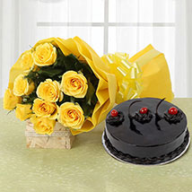 Yellow Roses and Cake: Midnight Delivery Gifts