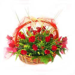 Basket of 24s Red Roses MAL