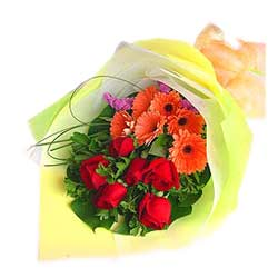Bouquet of Red Roses n Peach Gerberas MAL