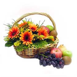 Fruit n Flowers Basket with Orange Gerberas MAL