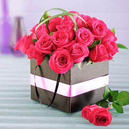 Cerise Roses in a Box