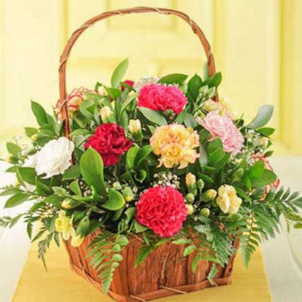 Mixed Carnations in a Basket
