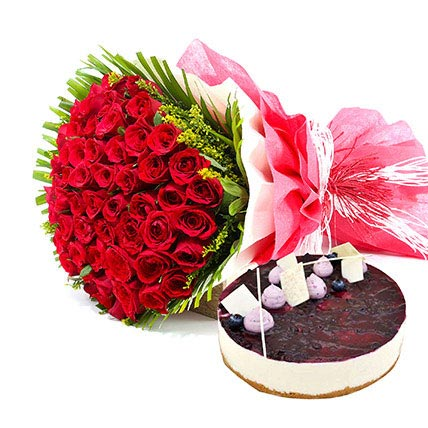 Roses n Blueberry Cheese Cake