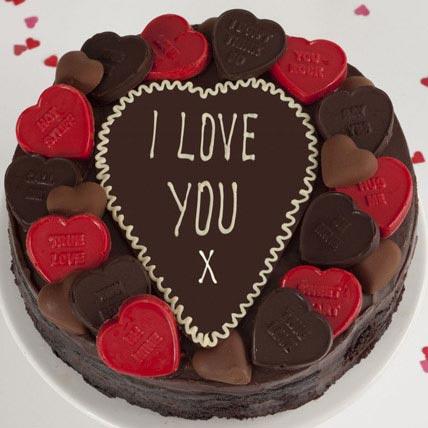 Love Hearts Fudge Cake