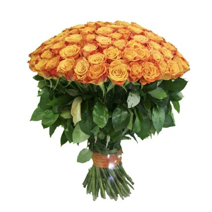 100 Long Stem Orange Roses