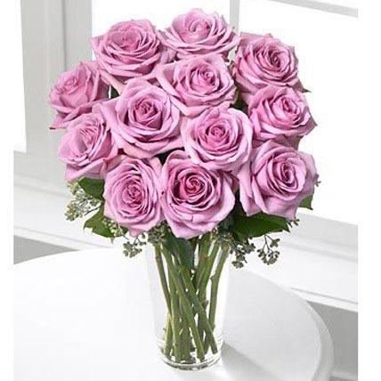 12 Long Stem Lavender Roses