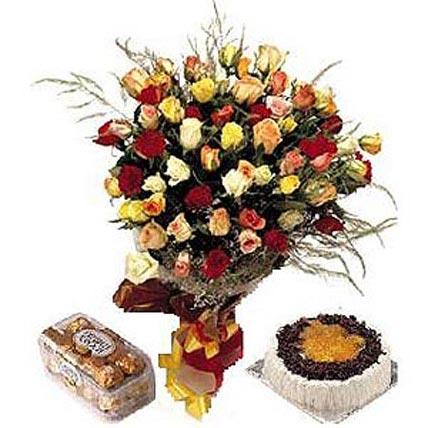 36 Roses Cake and Chocolates