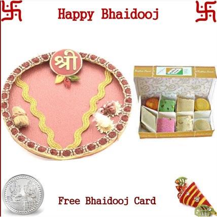 Bhai Dooj Thali with 225 grams Rajbhog Assorted Sweets