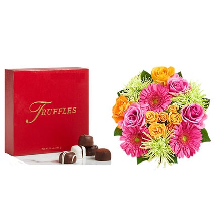 Colorful Bloom with Chocolates