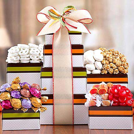Godiva Truffle Popcorn and Candy Tower